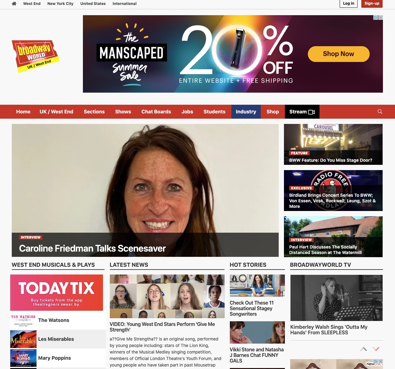 Broadway World West End home page